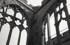 Coventry cathedral (OhDark30) Tags: olympus 35rc 35 rc 35mm film monochrome bw blackandwhite bwfp fomapan 200 rodinal church cathedral coventry ruin ruined arch tracery glass sky