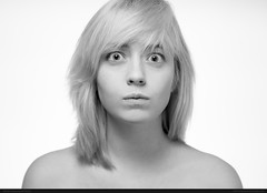 Wendigo Whack (bcud14) Tags: woman studio portrait blackandwhite monochrome highkey light