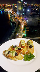 Top of the town (Roving I) Tags: bruschetta olives meltedcheese toast restaurants dining hospitality hotels brillianthotel tourism danang vertical vietnam views nightlife