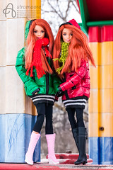 Redheads (astramaore) Tags: redhead mattel made move barbie yoga winter fun jacket coat smile smiling scarf sport sportswear friends girls together beauty happy bright