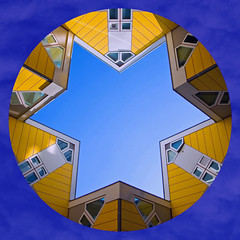 (ohank1951) Tags: vierkant quadrado blue yellow white star ster architecture abstract lines geometrie geometry cube kubussen colors facade windows pietblom rotterdam netherlands canoneos1100d efs1022mmf3545usm