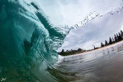 Glassy Arvo (David Field Photography) Tags: glassy afternoon water wave swim beach sand australia fisheye colour coast