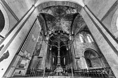 Secco Paintings in Bunswick Cathedral (dheisselmann) Tags: 2017 architecture braunschweig d750 deutschland nikon spring brunswickcathedral ceiling decke fresco secco chandelier mono monochrome monotone schwarzweiss bw church fisheye longexposure