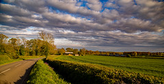 On the verge (Peter Leigh50) Tags: meridian east midland trains barn farmland field sky clouds sunshine train railway railroad leicestershire west langton uk rural evening april canon eos 6d