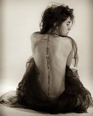 Living message (gyuri200) Tags: woman posing beauty sitting tattoo message bw