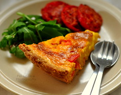 Flour's Country Ham, Cheddar, and Tomato Quiche, served warm with arugula salad and roasted tomatoes (Pei-Lin (VERY busy)) Tags: tomato lunch baking sunday pastry cheddar savory quiche arugula countryham balsamicvinaigrette ptebrise joannechang flourbakerycafe caramelizedtomatoes