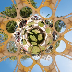 Robots and Zomes at the Faire (scloopy) Tags: panorama robots spherical stereographic zome makerfaire otherlab
