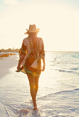 walking beach (*michael sweet*) Tags: vacation woman beach hat female walking mexico flare serene roo akumal quintana sowboy