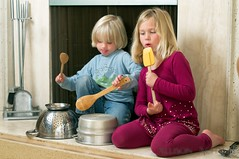 Pot and Pan Band (Allison Achauer) Tags: boy music playing girl kids children fireplace singing little sister brother band spoon siblings pots drumming noise loud spatula pans hitting banging
