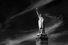 Liberty in Black and White (glidergoth) Tags: usa ny newyork liberty mono sailing harbour yacht manhattan nj statueofliberty ladyliberty