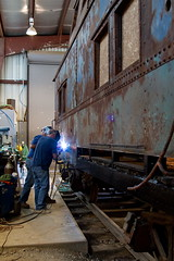 LV#95100 - Installing the first new steel side sheet (Rochester & Genesee Valley Railroad Museum) Tags: railroad train welding caboose rochester valley genesee lehigh
