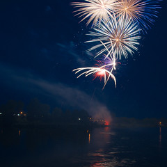 Fireworks, Canada Day, July 1, 2013 #8 (lynn.h.armstrong) Tags: camera bridge blue red sky white ontario canada reflection art colors st yellow night river lens photography lights 1 evening photo lawrence aperture nikon long flickr day colours photographer waterfront purple fireworks wordpress south july jim blogger images lynn livejournal h parkway getty nik nikkor explosions fx armstrong stormont facebook malone sault ingleside twitter 2013 tumblr d7000 lynnharmstrong pinterest