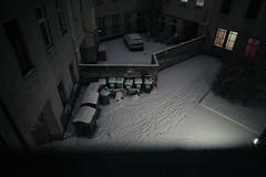 (onesevenone) Tags: winter light snow berlin night trash lights garbage backyard steps