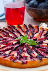 Tart with plums (sun_tea86) Tags: life wood red summer food flower yellow cake closeup fruit circle season pie crust french dessert gold baking yummy drink sweet object napkin traditional culture plum gourmet homemade bakery snack pastry tart freshness baked tartalette
