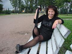 amp-0491 (vsmrn) Tags: woman smile crutches nylon amputee