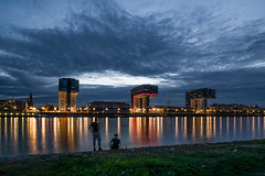 Kranhäuser (gambajo) Tags: blue water night river germany deutschland evening cologne köln hour rhein kranhäuser