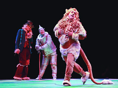Jamie Torcellini as Cowardly Lion, Jim Walton as Scarecrow and Shannon Stoeke as Tinman in The Wizard of Oz produced by Music Circus at the Wells Fargo Pavilion June 21 -30, 2013. Photo by Charr Crail.