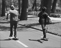 Friendship day (alobos Life) Tags: chile santiago friends bw amigos primavera bicycle sport de outdoors la spring day friendship sony dia skate deporte amistad nex5r