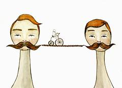 Moustache (Notice my Oh Ohs) Tags: bridge bike watercolor puente bicicleta moustache illustrationfriday acuarela dibujo ilustracion bigote