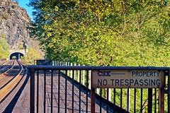 No Trespassing (Reg|Photography4Lyfe) Tags: sign landscape photography traintracks platform tunnel olympus zuiko hdr csx evolt 2013 1442mm dslre410