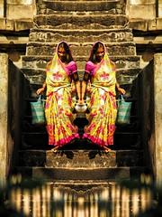 Doblemente Fashion - Doubly Fashion (*atrium09) Tags: woman india reflection colors fashion stairs mirror mujer moda hdr escaleras doble atrium09 rubenseabra