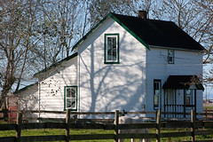 Old Farming House_1493 (Mike Head - Jetwashphotos) Tags: old morning horse sunlight canada sunshine bc britishcolumbia farming sunny delta pasture porch woodenfence ladner additions morningsun maintained lowermainland westerncanada originalhouse ruralsetting southdelta pacificregion canadianwest deltamunicipality lowerfraservalley