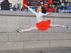 Defying Gravity [Explored #410] (jaykay72) Tags: street uk ballet london candid streetphotography trafalgarsquare londonist balletdancer stphotographia emmafarnellwatson
