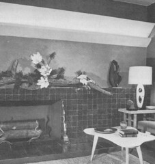 Ladies Home Journal Book of Interior Decoration, 1954 26 (tikitacky) Tags: sculpture modern tile fireplace interior driftwood decor amoeba asymmetrical midcentury amoebic troughlighthing