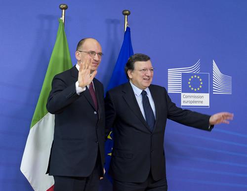 Letta a Bruxelles incontra il presidente della Commissione europea, José Manuel Durão Barroso
