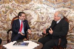 Marco António Costa em reunião com o Bispo do Algarve