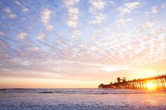 (Melissa Emmons Photography) Tags: california sunset sky water sunshine clouds canon landscape pier waves shoreline coastal oceanside foam 5d