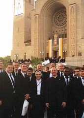Fr. Nicholas Rouch, Sr. Mary Andrew and seminarians at Canonization Mass of Junipero Serra, the National Shrine of the Immaculate Conception - Sept. 2015