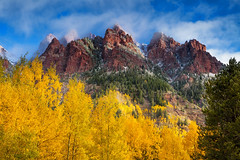 Aspen Morning (Vision & Light Photo) Tags: autumn fall season aspen yellow golden tree nature outdoors landscape remote wilderness horizontal green blue red mountain rockies rockymountains colorado maroonbells clouds cloudscape mist misty fog snow scenic scenery morning photo photograph photography fineart beautyserene forest woods peaceful fineartphotography