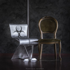 present and past (TAmovieman) Tags: chairs metal wood fabric modern vintage present past