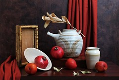 Red Is Power (Esther Spektor - Thanks for 12+millions views..) Tags: stilllife naturemorte bodegon naturezamorta stilleben naturamorta composition creative photography artisticphoto arrangement tabletop autumn art food fruit pomegranate plum branch vase plate pitcher tray curtain drape leaf dry wooden ceramics pattern availablelight red beige brown crimson estherspektor canon