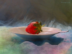 Still Life with Strawberry ... (MargoLuc) Tags: fruit red strawberry pastel white dish pottery light natural window shadows coffeespoon backlight stilllife sweet food texture pareeerica