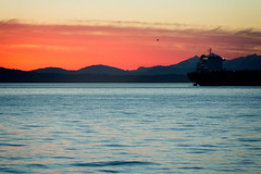 Seattle Drone Sunset (matthewkaz) Tags: sunset sky seattle clouds sun freighter ship boat drone flying elliottbay pugesound water olympics olympicmountains mountains silhouette city washington 2017