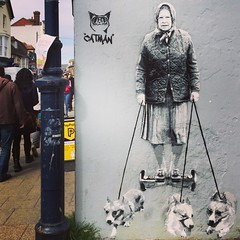 Liz takes the pups for a stroll (vapour trail) Tags: whitstable kent coast town seaside beach queen elizabeth grafitti wall paint art artist catman corgi dog