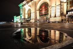 Union Station Reflections (KC Mike D.) Tags: station union reflection puddle rain building lights parking lot space brick pavement architecture design