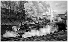 Blast Off... (JohnN60) Tags: bw bkackandwhite blackwhite street bolton boltonstreet bury railway lancashire east elr crewe horwich locomotive steam hughescrab 13065