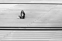 Quatrième arrondissement (elisverlander) Tags: france paris woman line neighbourhood outdoor stair naturallight blackandwhite elisverlander