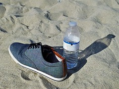 No Subject 无题 (James Q Chang) Tags: beach waterbottle shoe sunlight