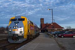 Evening Station Stop (Joseph Bishop) Tags: via 907 ge p42 cndundassubdivision brantford trains train track tracks railfan railroad railway rail rails canada150