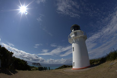 East Cape Lighthouse, New Zealand (Dirk Gently) Tags: newzealand neuseeland fisheye canonef15mmf28fisheye lighthouse leuchtturm sun sonne sky himmel blau blue