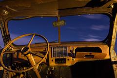 Bones and Blue (Joe R. Reed) Tags: night nightphotography longexposure lightpainting lighting canon canon60d cto clouds cloudstreaks startrails splitwindow rusty rustyandcrusty desert dashboard details fenix flashlight fullmoon forgotten fenixld20 tokinaatx1224f4 tokina1224f4 joerreed junkyard goat
