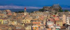 Corfu town (snowyturner) Tags: corfu greece mediterranean rooftops buildings panorama colours castle church