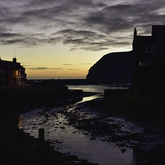 sleepless in Staithes (Malajusted1) Tags: staithes yorkshire whitby north sea sunrise dawn shadow light clouds coast dark silhouette reflections