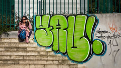 """""""Hello, it's me ... """" (Canadapt) Tags: woman stairs wall graffiti phone mobilephone cell talk street loures portugal canadapt"""