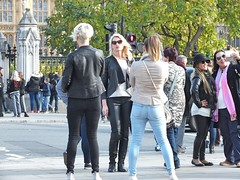 Parliament Square Tourists (Waterford_Man) Tags: london girl tourists people path candid street cell phone mobile