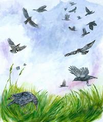 Crows (Sharon Farrow) Tags: nature birds crows wildlife landscape flying sky paint pencil pen acrylic watercolour crayon plants sharonfarrow illustration illustrator painting art paper mixedmedia